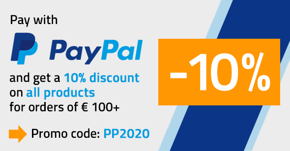 Save 10 % if you Pay with PayPal on all orders over € 100